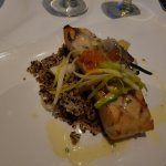 New Year's Eve dinner of Jail Island Salmon with quinoa and topped with salmon caviar