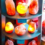 Salt lamps in the 'natural products' area of the facility
