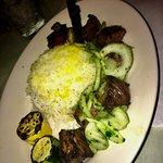 Saffron Rice, Grilled Veggies, Tender Steak