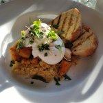 Quinoa, roasted root veggies, poached eggs. YUM !