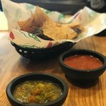 Chips and Salsa.. Green was our favorite
