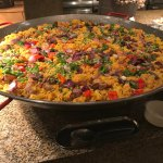 Paella! (to give a size impression, look at the soup bowl I put below the humongous paella pan
