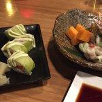 Cerviche and seared salmon maki