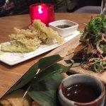 Crispy duck spring rolls, with beef salad and vegetable tempura