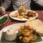 fish skewers and thai curry