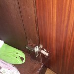 Room cabinet with detached door hinge. Checked and inform the concierge to avoid charge.