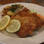 Veal Schnitzel, home-fried potatoes, mixed vegetables. Sheer perfection.