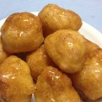 Greek donuts with honey, at Sto Psito