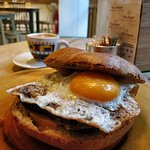 Blood sausage with egg bagel.