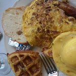 This was my first plate - sausage mushroom omelet and sausages, waffle and eggs benedict!
