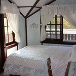 Room #3 Danish Treehouse, located upstairs private deck 1 double bed, private 1/2 bath shared sh