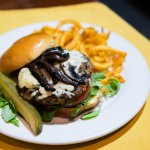 Housemade black bean veggie burger with roquetta, tomato, red onion, mushroom, avocado, & mozzar