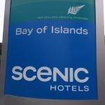 Scenic hotel sign