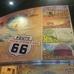 mural depicting Route 66 states