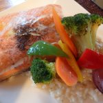 trout, risotto, and veggies