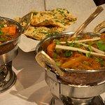 Garlic Naan, Chicken Jalfrezi, Mushroom Baji