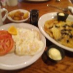 Egg Sandwich, Fried Apples, side of two Wild Maine Blueberry Pancakes. Yeah baby!