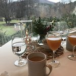 Breakfast room overlooking the beautiful grounds as snow flurries began.