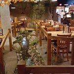 Stream flowing thru dining area