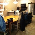 kitchen and dinning area. We just arrived and hadn't put anything away yet