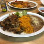 Carnitas with beans and rice.