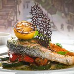 Baked salmon steak with grilled vegetables