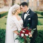 A wedding couple in the Rose Garden