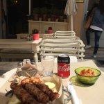 Chicken Souvlaki with Pita bread, Fries and Hummus. So delicious