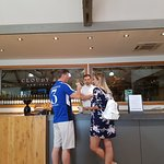 Lovely honeymoon couple at Cloudy Bay Winery on private tour