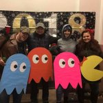 Us in our PacMan costumes for the NYE drop!!