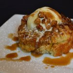 Housemade Scone with Ice Cream and Caramel Sauce