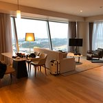 Fabulous living area with a grand vista of incheon Terminal 1 with views of both its runway.