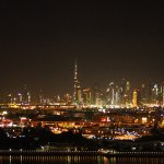 View of the Dubai night time skyline