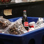 Boiled peanuts and cokes for sale at the counter.