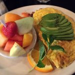 Omelet (bacon,cheese,avocado) with Side of Fruit