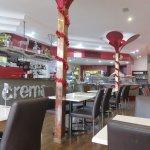 Inside the Crema Coffee Shop, Christmas decorations