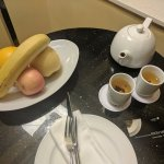 Fruit and tea waited for us in the room