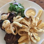 Grilled steak and lambs, with prawns and calamari (forgot the name of this dish, but it's yummm)