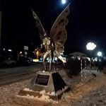 the famous Point Pleasant Mothman statue is right across the street. Here is is under a full moo