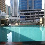 View from inside hotel, swimming pool is not good and no privacy as you see in the picture