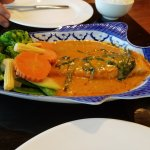 Grilled salmon with panang curry