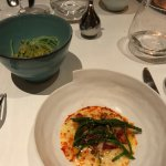 the lobster two ways - sauted with beurre blanc and sea asparagus and bisque