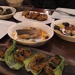 falafel, eggplant, halloumi cheese, salmon, lentil pattiess