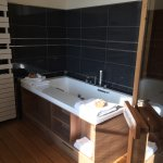 Malbec room soaking tub, sauna, and separate shower