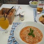 Risotto with shrimps and gofa (Greater amberjack in English)