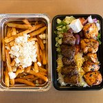 Beef & Chicken Combo Platter. Mediterranean Fries