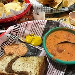 Irish grilled cheese with tomato basil soup and side of 1000 island
