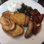 Laneway Breakfast: poached eggs, miso mushrooms, bacon, chipolatas, toast and hashbrowns.