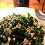Kale chicken salad with Shafer wine