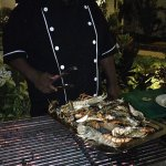 Chef with Fresh Seafood Grill BBQ - heaven!